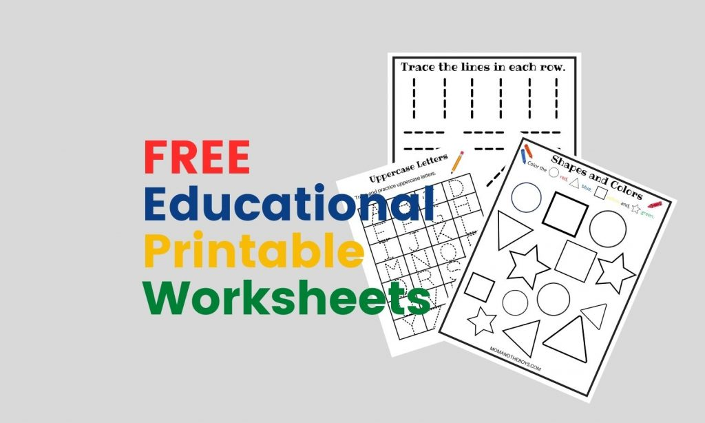 Free Educational Printable Worksheets for Toddlers
