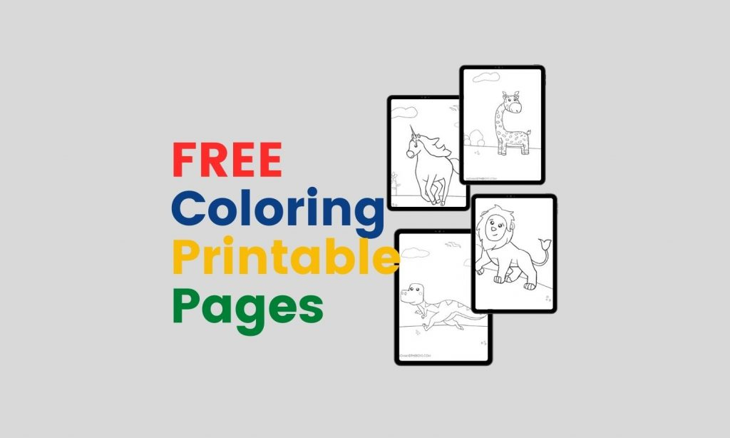 Free Animals, Dinosaurs and Unicorn Coloring Printable Pages